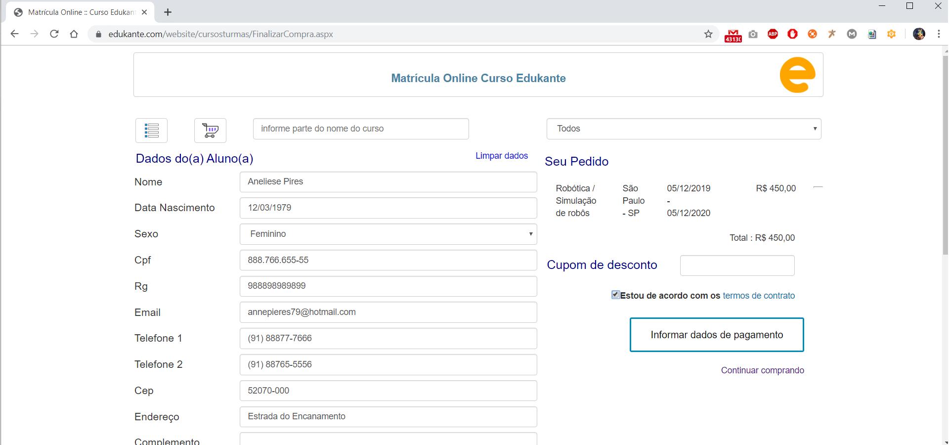 Software para Matrículas Online Termos e Condições e Aceite do Aluno