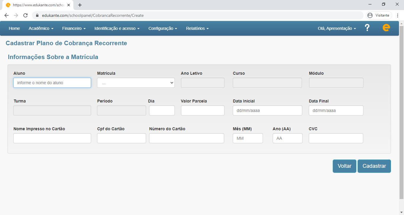 Software Web Cobrança Recorrente
