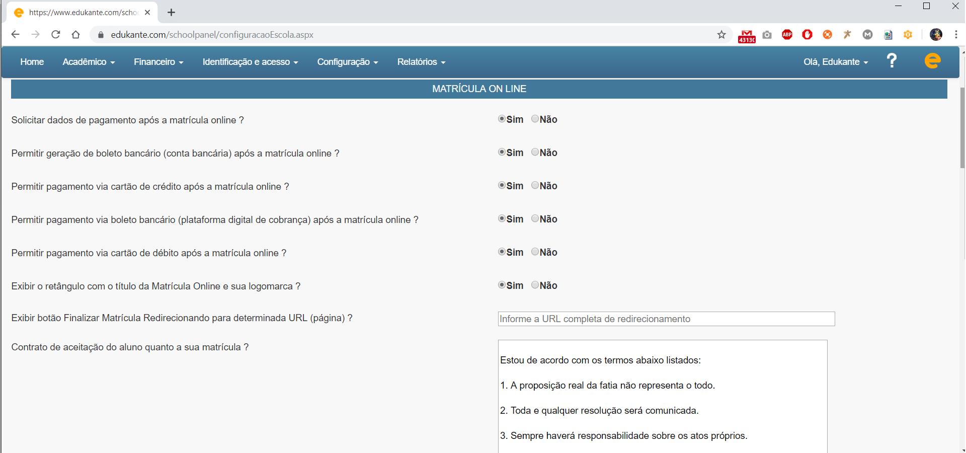 Software de Gestão Escolar. Matrícula Online, configuração de dados pessoais que serão preenchidos pelo aluno.