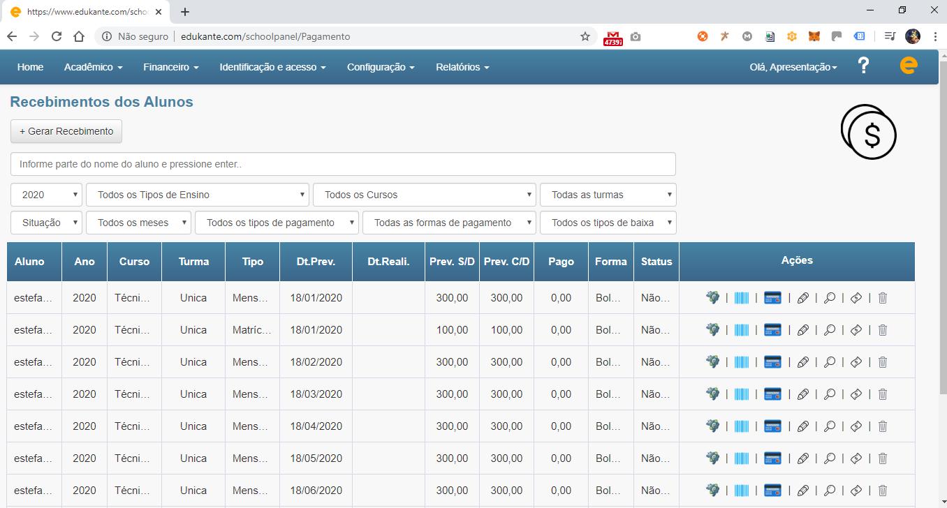 Software Web Controle Financeiro de Matrículas e Mensalidades