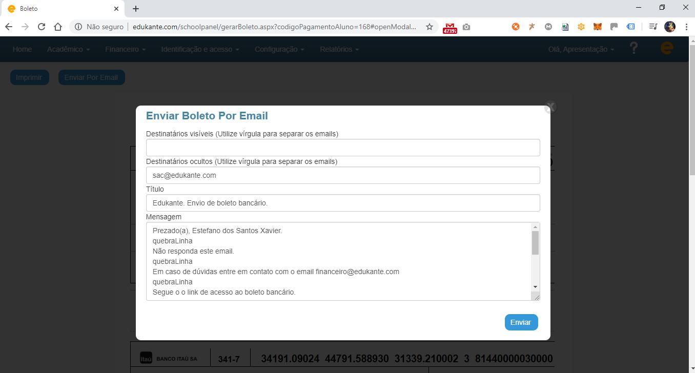 Envio dos Boletos Bancários Gerados por Email