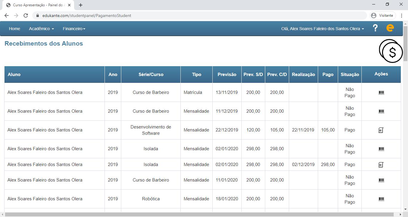 Software online de gestão acadêmica, financeira e ensino a distância