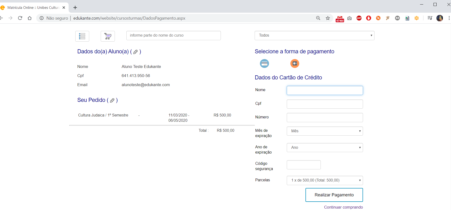 Software para Pagamento Online da Matrícula