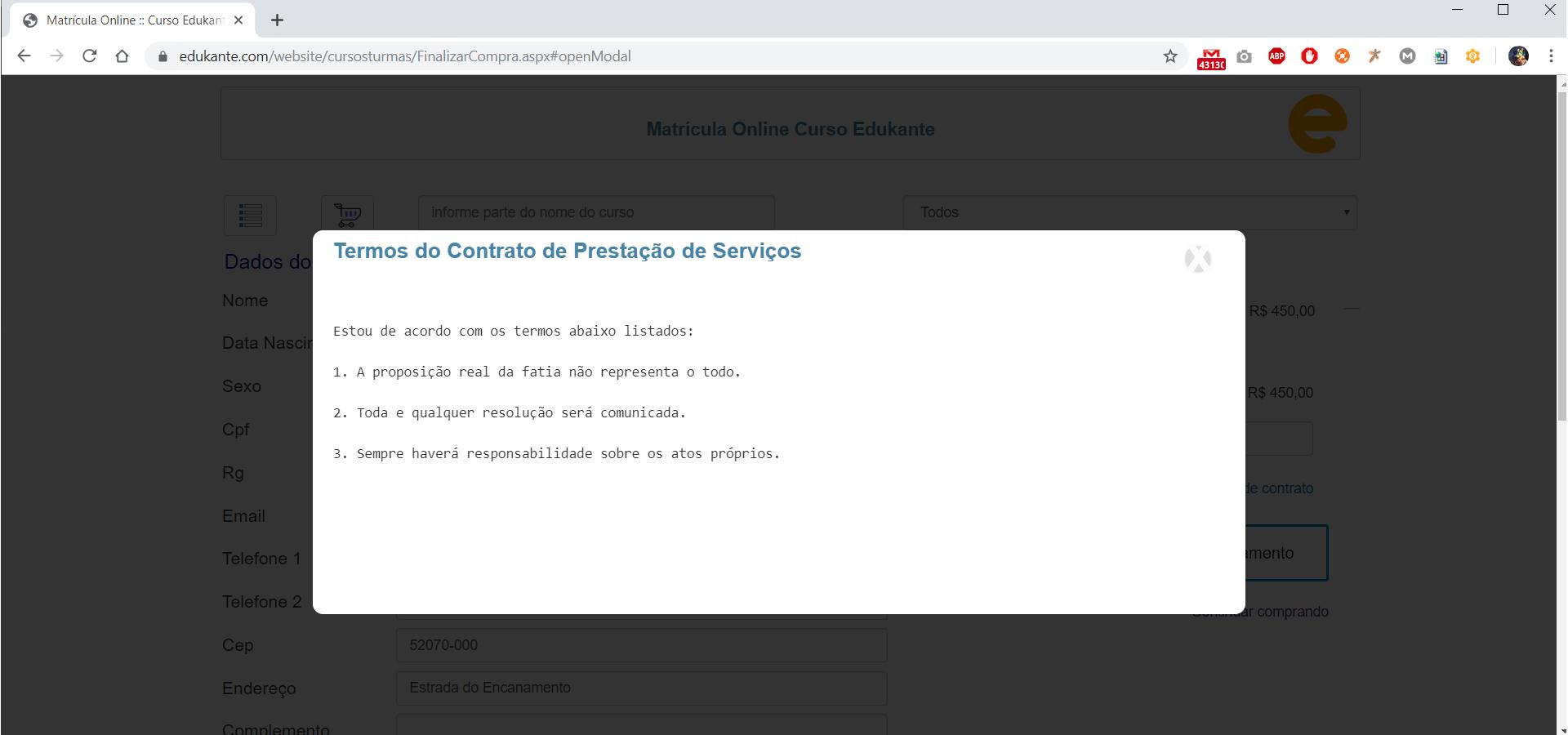 Software para Cursos. Matrícula Online. Aceite das Condições e Termos.