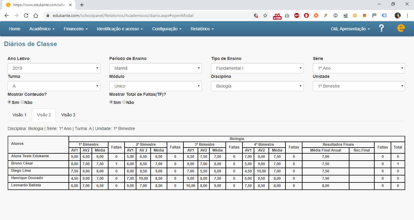 Sistema Web de Gestão para Instituições de Ensino - Controle Sobre a Presença dos Alunos