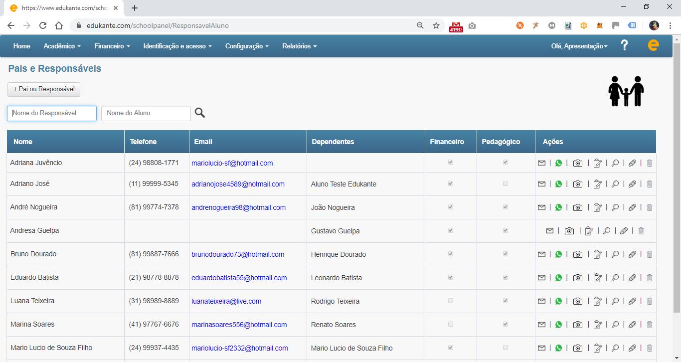 Software de Gestão para Escolas, Cursos e Faculdades - Gestão sobre os responsáveis do aluno