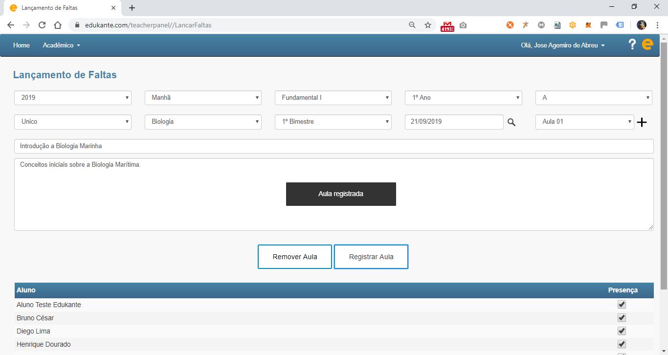 Software Gestão Escolar Permite o Registro de Aulas e Presenças dos Alunos