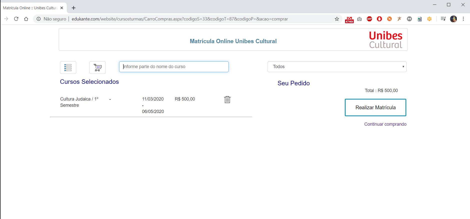 Carro de Compras de Cursos, Software Matrículas Online edukante