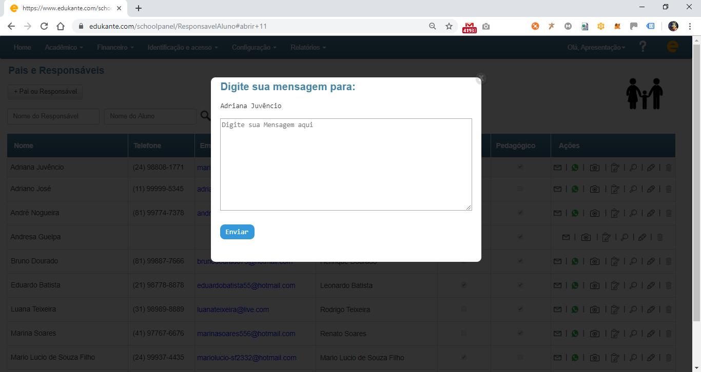Software Acadêmico para Instituições de Ensino - Envio de Emails