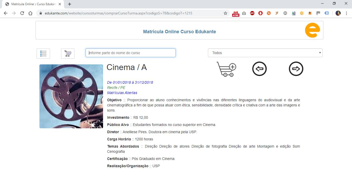 Software para Matrículas Online - Visualizar os Detalhes de um Curso
