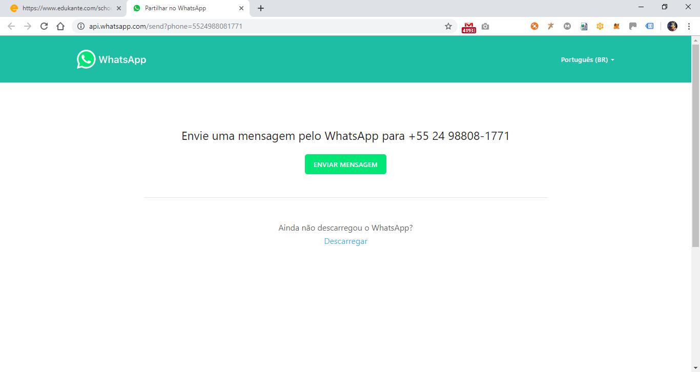 Software Escolar permite envio de mensagens whatsapp para alunos, pais e professores