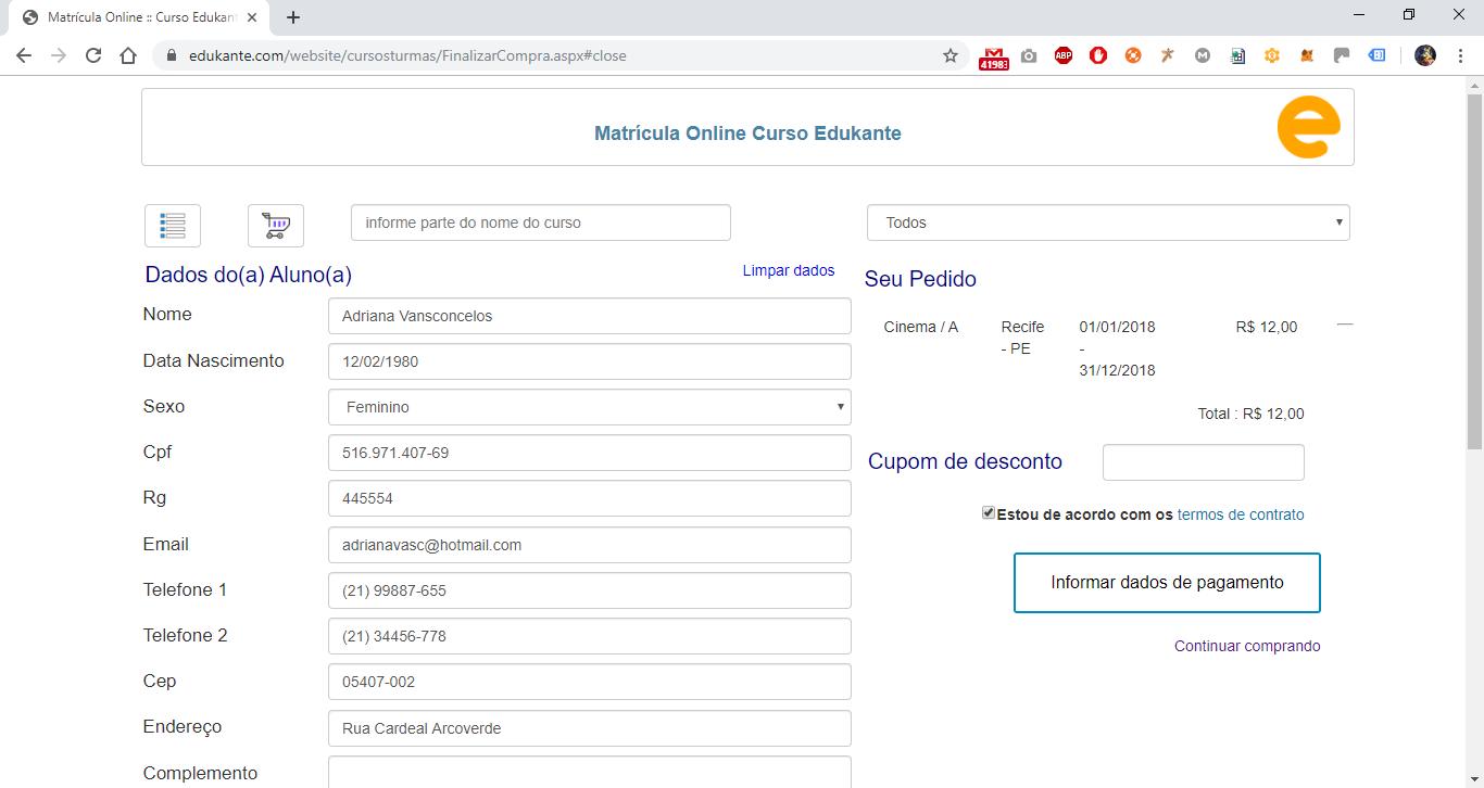 Sofware Gestão Matrículas Online - Dados do Aluno