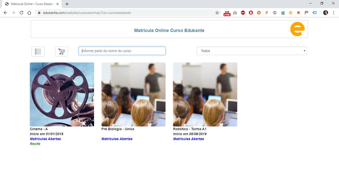 Software para Matrículas Online - Comércio Eletrônico de Cursos