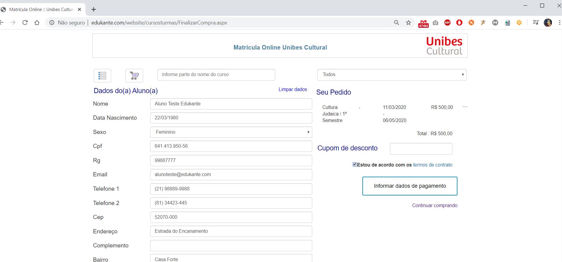 Software Controle de Matrículas Online