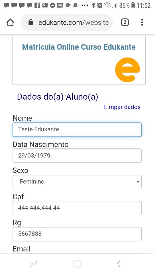 Ferramenta Web de Matrículas Online, cadastro dos dados pessoais do aluno